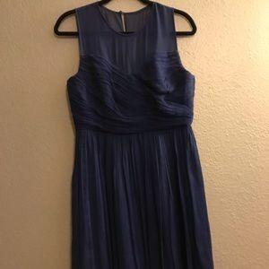 Navy Blue Silk Illusion Neck Dress
